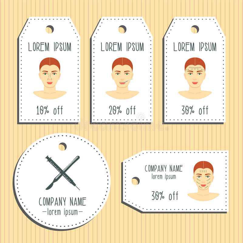 Face plastic surgery discount gift tags. Ready to use. Flat design. Vector. Illustration stock illustration