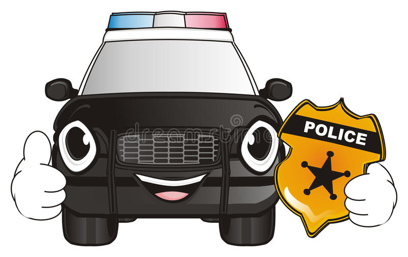 Face Of Police Car With Symbols Of Police Stock Illustration