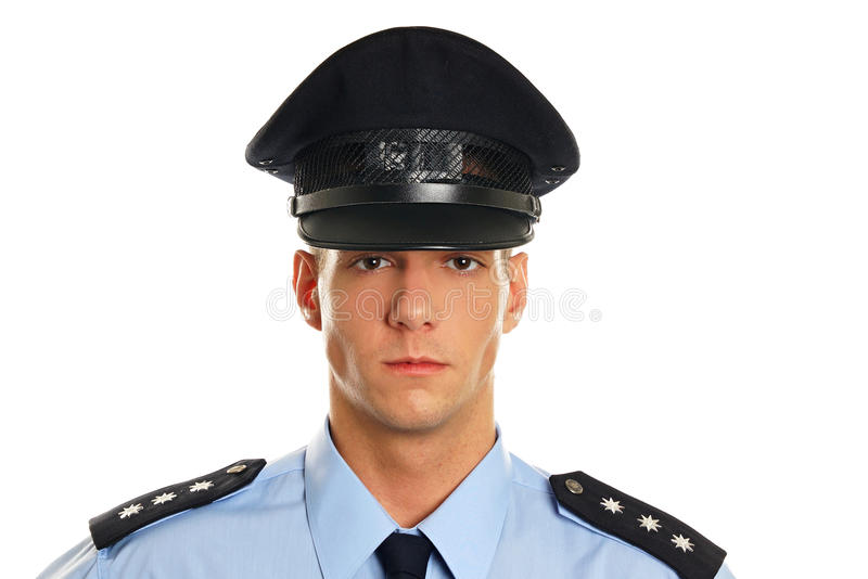 Face of policeman close-up royalty free stock photography