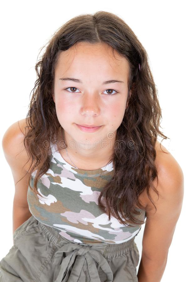 Face portrait of happy teen girl in army clothes. A face portrait of happy teen girl in army clothes stock images