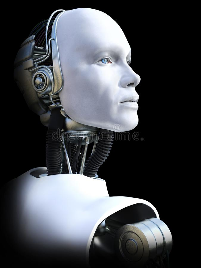 3D rendering of male robot head. royalty free illustration