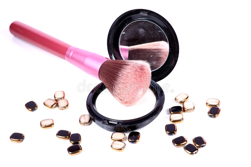 Face powder and brush stock photography