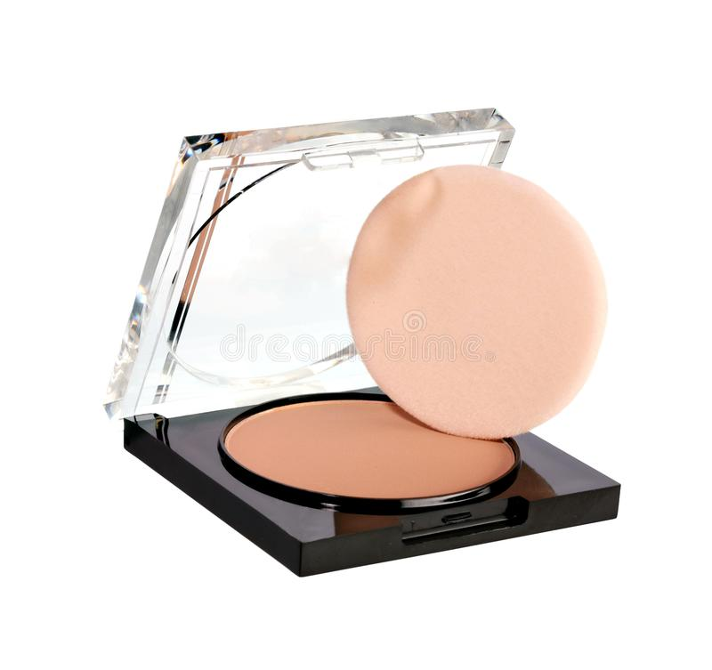 Face powder isolated on white background. Close up. Professional make up and beaut stock photo