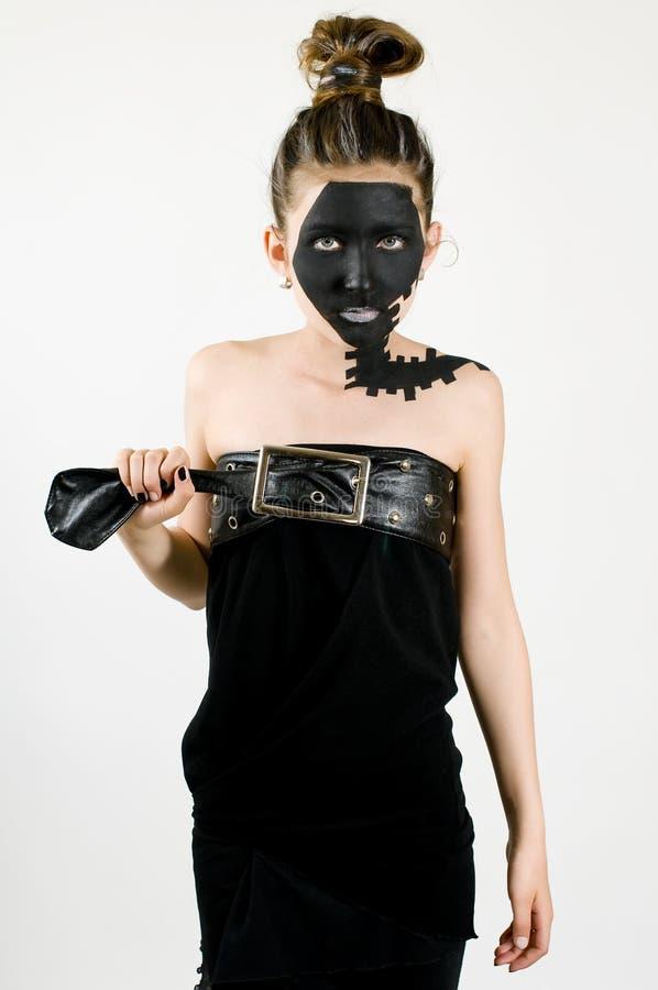 Face preta pintada da forma menina adolescente imagem de stock