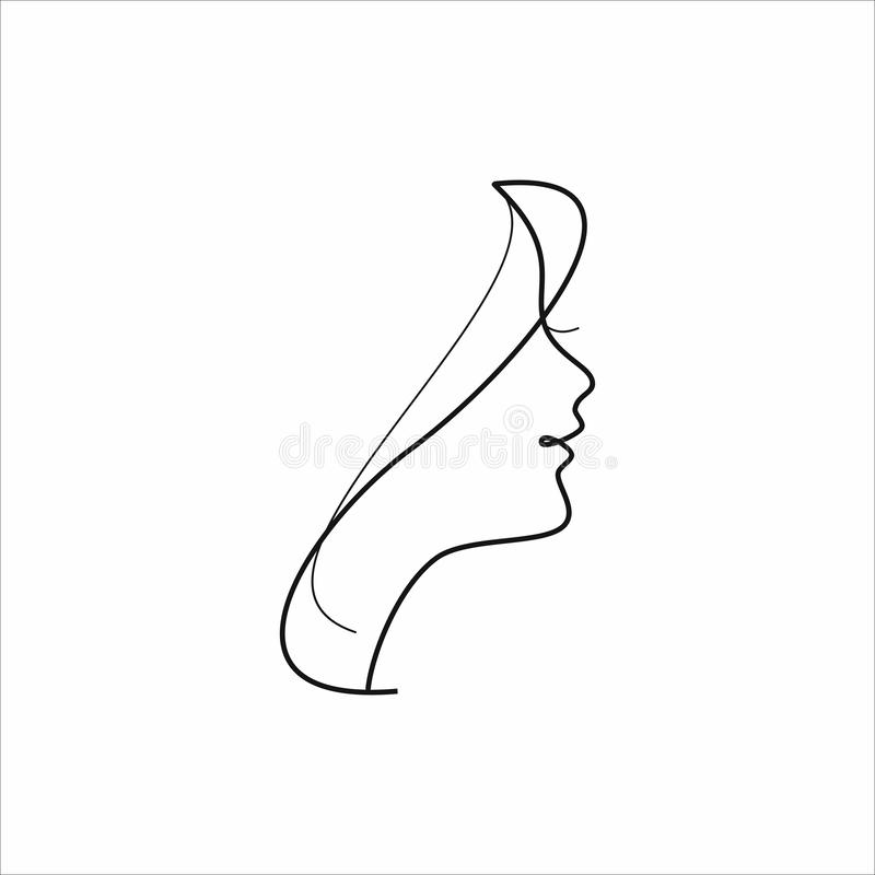 Face of pretty girl with stylish hairstyle. Woman s head in circle. Elements of design of cosmetic products logo. Print with gold foil on a black background stock illustration