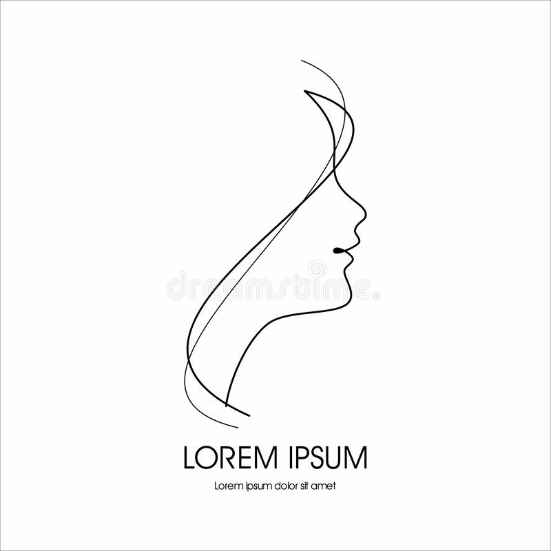 Face of pretty girl with stylish hairstyle. Woman s head in circle. Elements of design of cosmetic products logo. Print with gold foil on a black background vector illustration