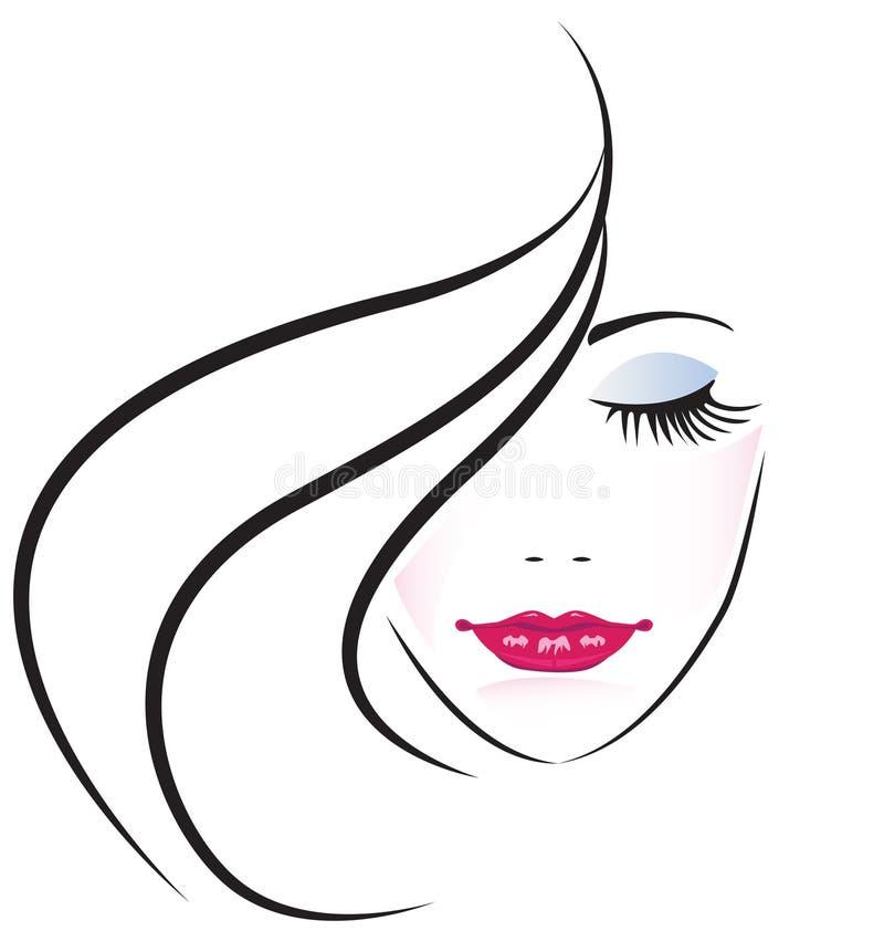 Face of pretty woman logo vector vector illustration