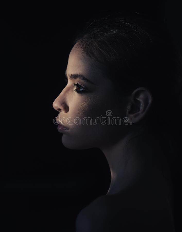 Face of pretty woman with make up in darkness. She is mystery for you. Mysterious girl hiding from day light. Portrait royalty free stock photo