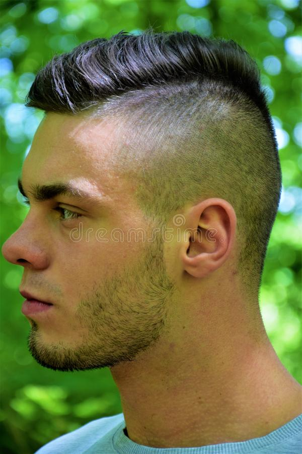 Face profile of a serious model stock photos