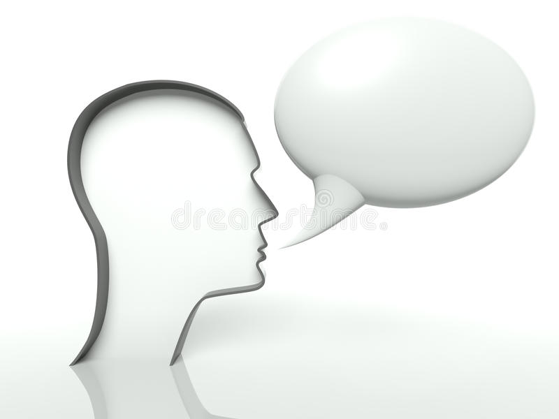 Face profile and speech bubble on white background stock illustration