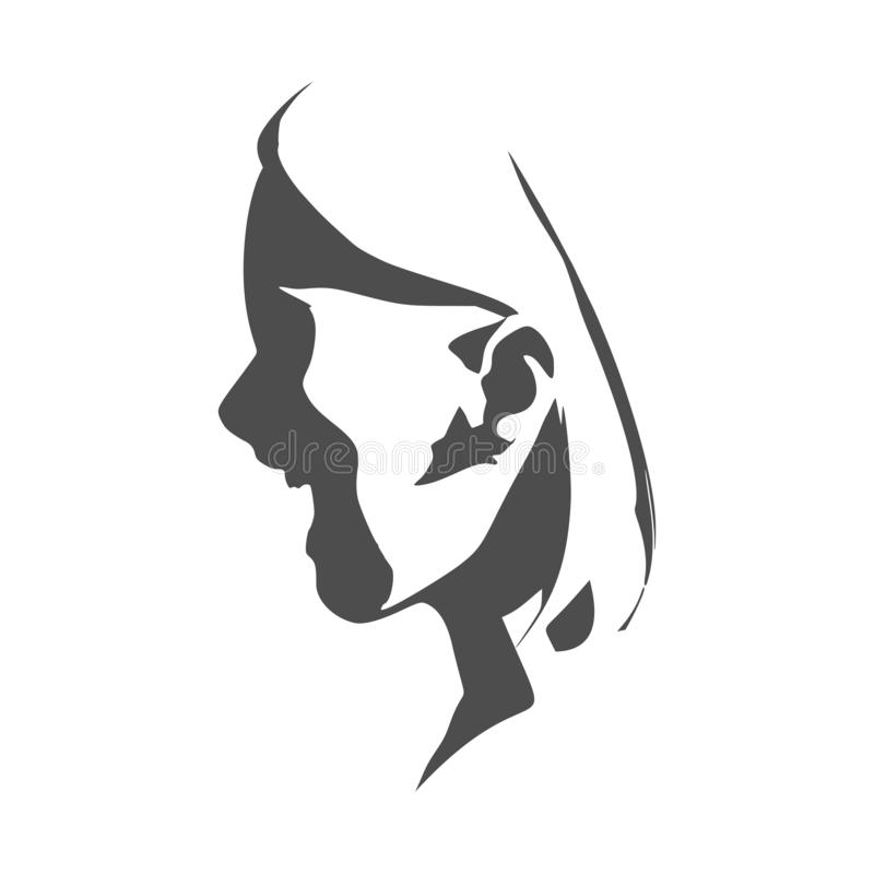 Silhouette of a female head. Face profile view. Elegant silhouette of a female head. Surprised beautiful woman with open mouth vector illustration