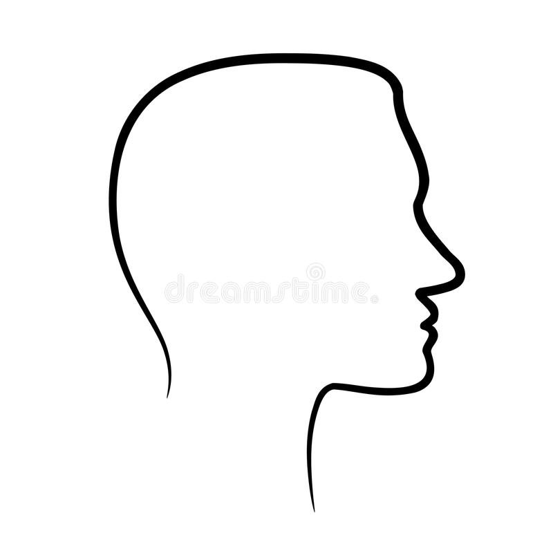 Face profile view. Face profile view on a white background stock illustration