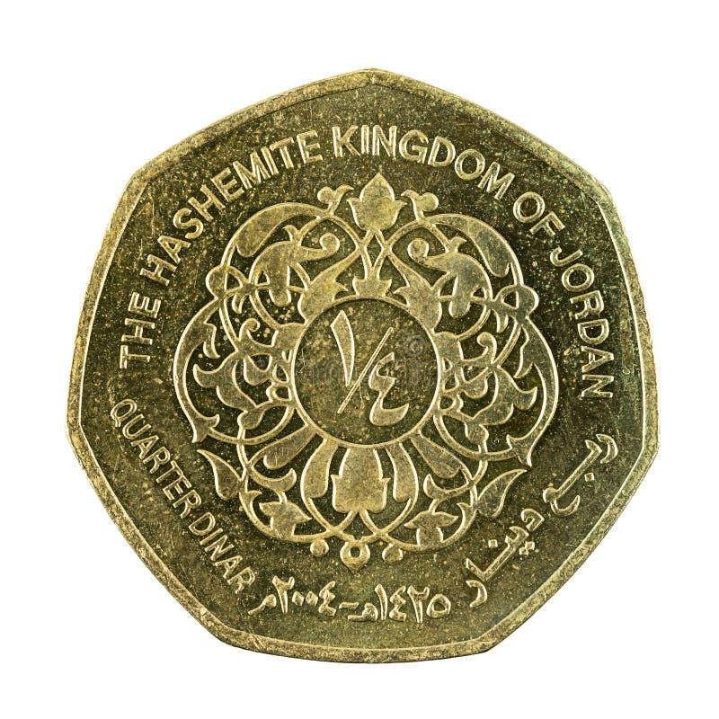 Face quarte de pièce de monnaie de dinar jordanien d'isolement image stock