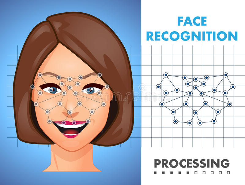 Face recognition - biometric security system. Concept vector illustration