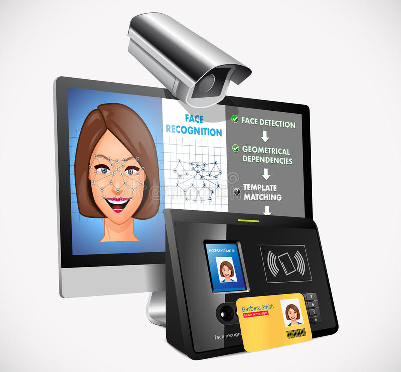 Face recognition - biometric security system. Concept stock illustration