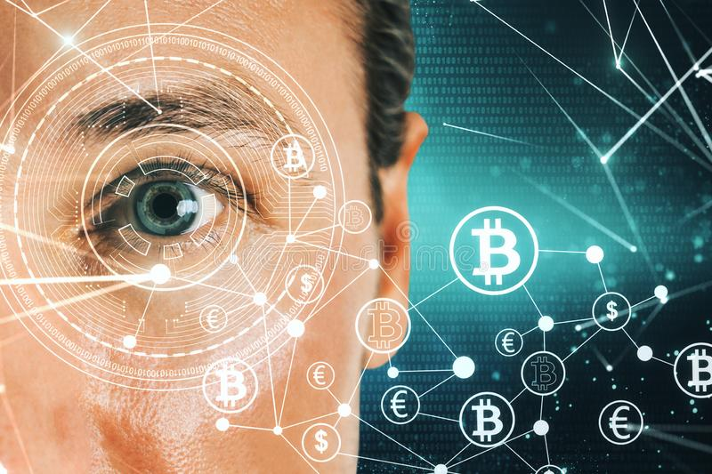 Face recognition and cryptocurrency concept royalty free stock photos