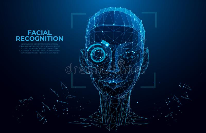 Face Recognition. Cyber women, Robot face. Facial Recognition System concept. biometric scanning, 3D scanning. Face ID. stock illustration