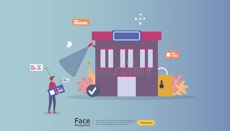 Face recognition data security design. facial biometric identification. security system scanning cctv camera. landing page. Template, banner, presentation royalty free illustration