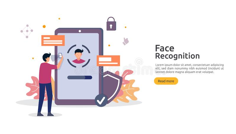 Face recognition data security design. facial biometric identification system scanning on smartphone. web landing page template,. Banner, presentation, social royalty free illustration
