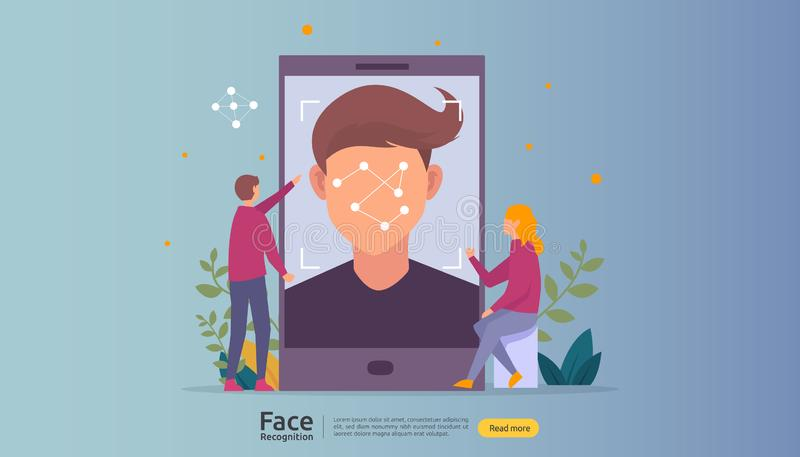 Face recognition data security design. facial biometric identification system scanning on smartphone. web landing page template,. Banner, presentation, social stock illustration