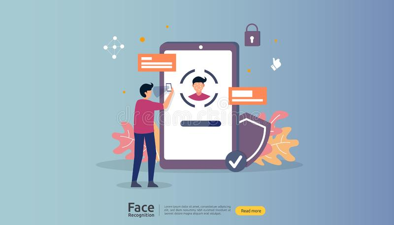Face recognition data security design. facial biometric identification system scanning on smartphone. web landing page template,. Banner, presentation, social vector illustration