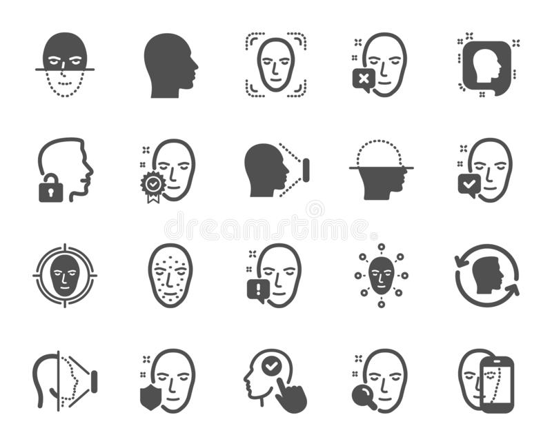 Face recognition icons. Set of Faces biometrics detection and scanning. Vector. Face recognition icons. Set of Facial biometrics detection, scanning and unlock royalty free illustration