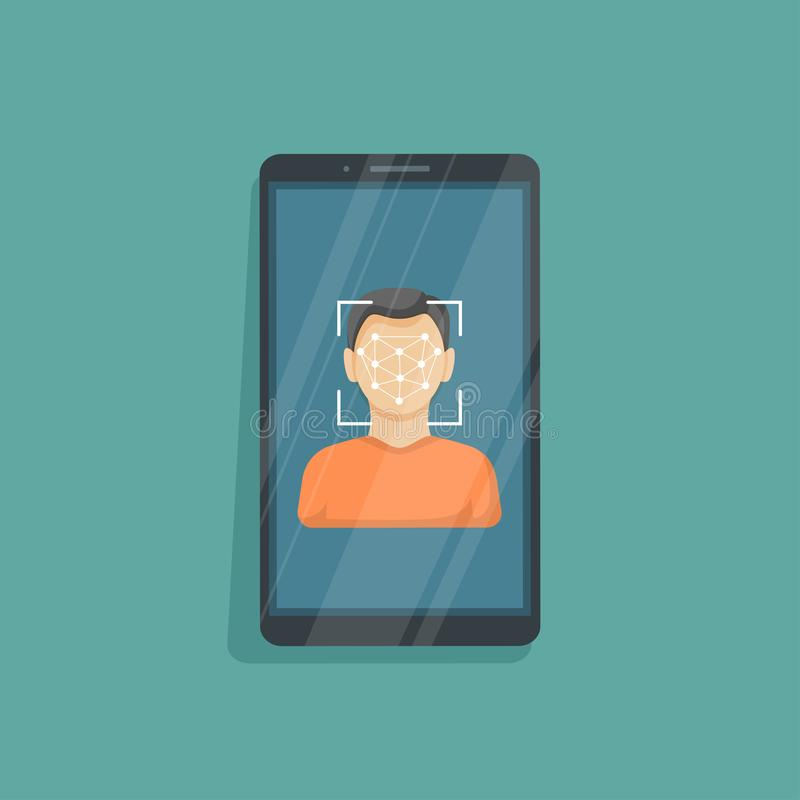 Face recognition and identification, concept. Face ID, face recognition system, mobile app. Phone with biometric identification vector illustration
