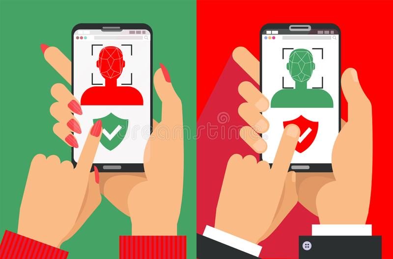 Face recognition and identification, concept. Face ID, face recognition system, mobile app. Male and female hands with Phones with. Biometric identification of royalty free illustration