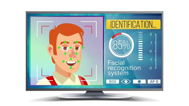 Face Recognition And Identification Vector. Face Recognition Technology. Face On Screen. Human Face With Polygons And. Points. Scanning Security stock illustration