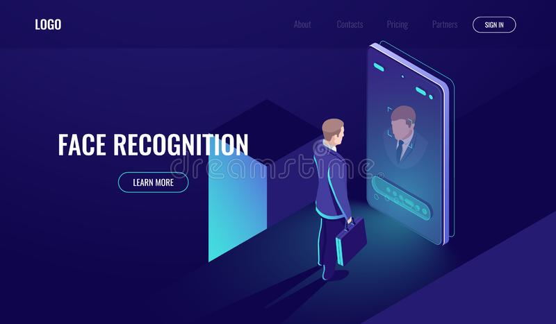 Face recognition, isometric icon, man look into the phone camera, biometric technology, identification, detection of. Identity, mobile phone dark neon vector royalty free illustration