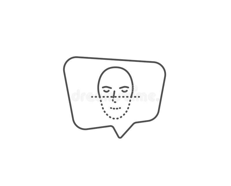 Face recognition line icon. Faces biometrics sign. Vector. Face recognition line icon. Chat bubble design. Faces biometrics sign. Head scanning symbol. Outline stock illustration