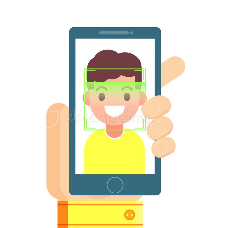 Face recognition and mobile identification. Youngman unlocking her smartphone, or app. Vector flat illustration vector illustration