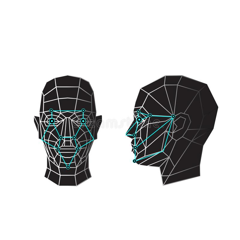 Face recognition and scanning - biometric security system. Vector illustration stock illustration