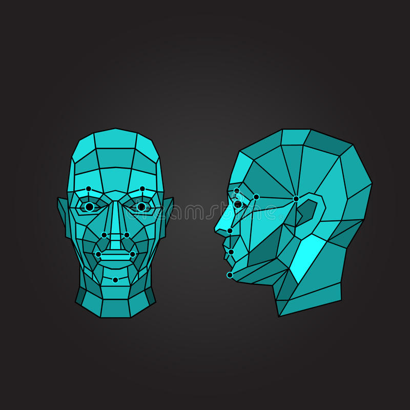 Face recognition and scanning - biometric security system. Vector illustration royalty free illustration