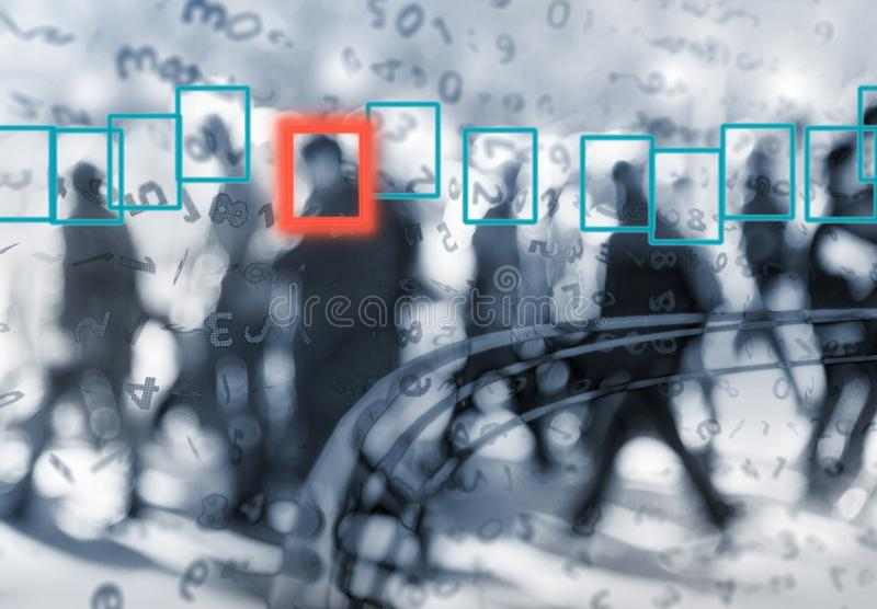 Face recognition technology concept of big data. Face recognition technology concept illustration of big data and security in city royalty free illustration