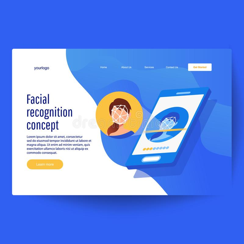 Face recognition technology concept. Biometric technology, identification vector illustration
