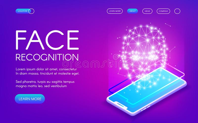 Face recognition technology vector illustration. Of digital scanner for personal identity authentication. Smartphone camera and face scan for private data vector illustration