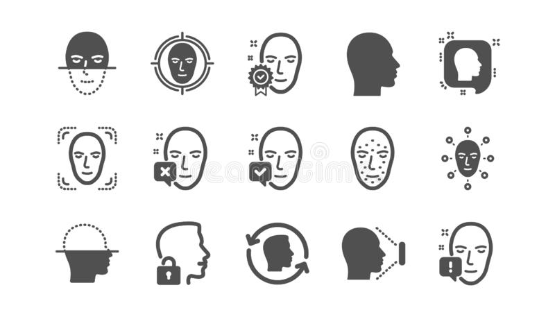 Face recognize icons. Biometrics detection, Face id and scanning. Classic icon set. Vector. Face recognize icons. Biometrics detection, Face id and scanning vector illustration
