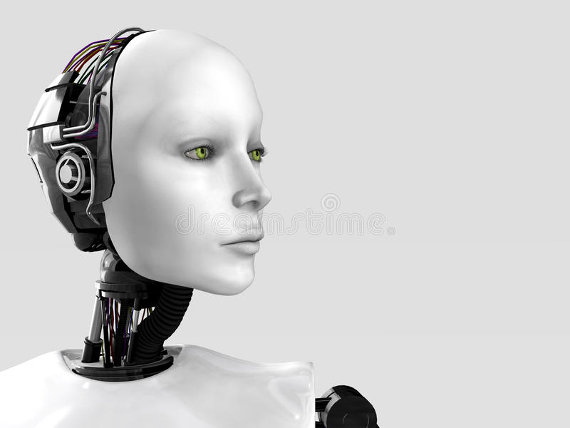 The face of a robot woman. stock illustration