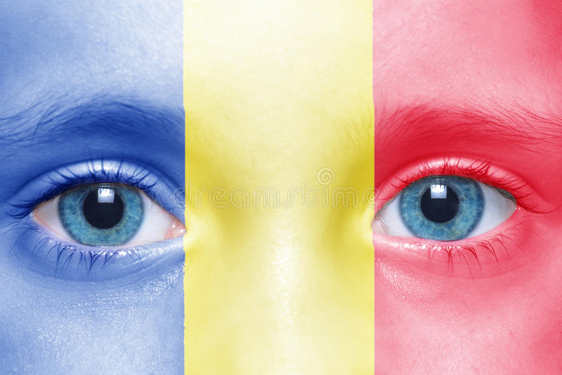 face with romanian flag royalty free stock photos