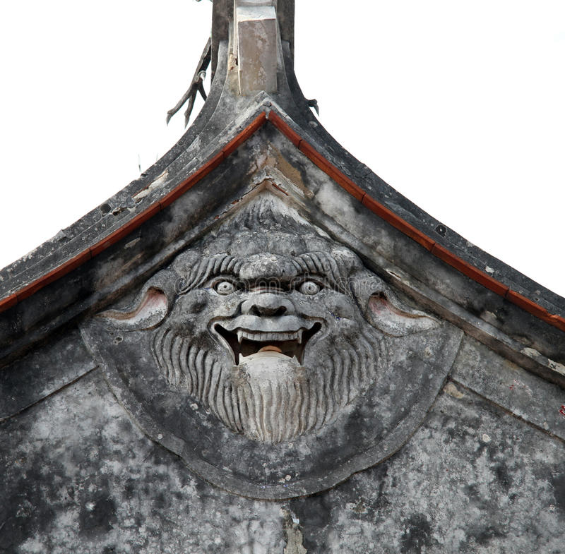 Face on the roof. Of Chih-Kan tower in Tainan, Taiwan royalty free stock photography