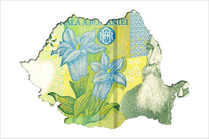 1 face roumaine de billet de banque de leu dans la forme de la Roumanie illustration libre de droits
