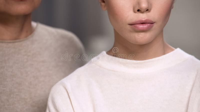 Face of sad lady, women supporting each other after loss of close person closeup royalty free stock photos
