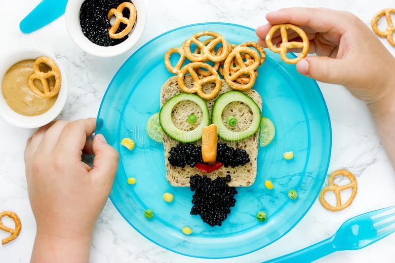 Face sandwich, food art idea. For kids stock image
