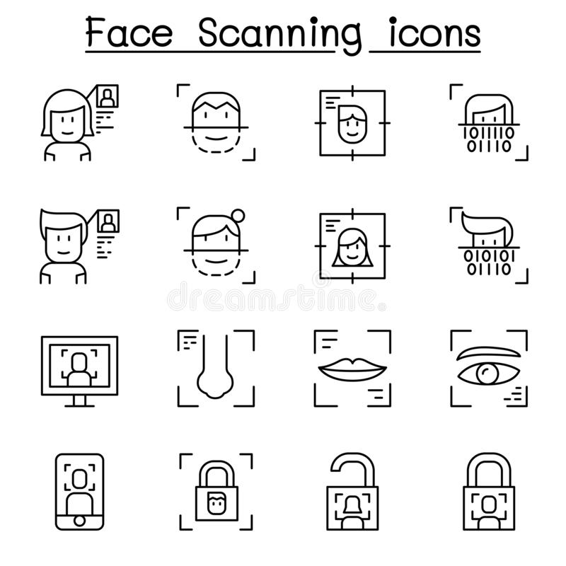 Face scanning, Face recognition and biometric authentication icon set in thin line style vector illustration