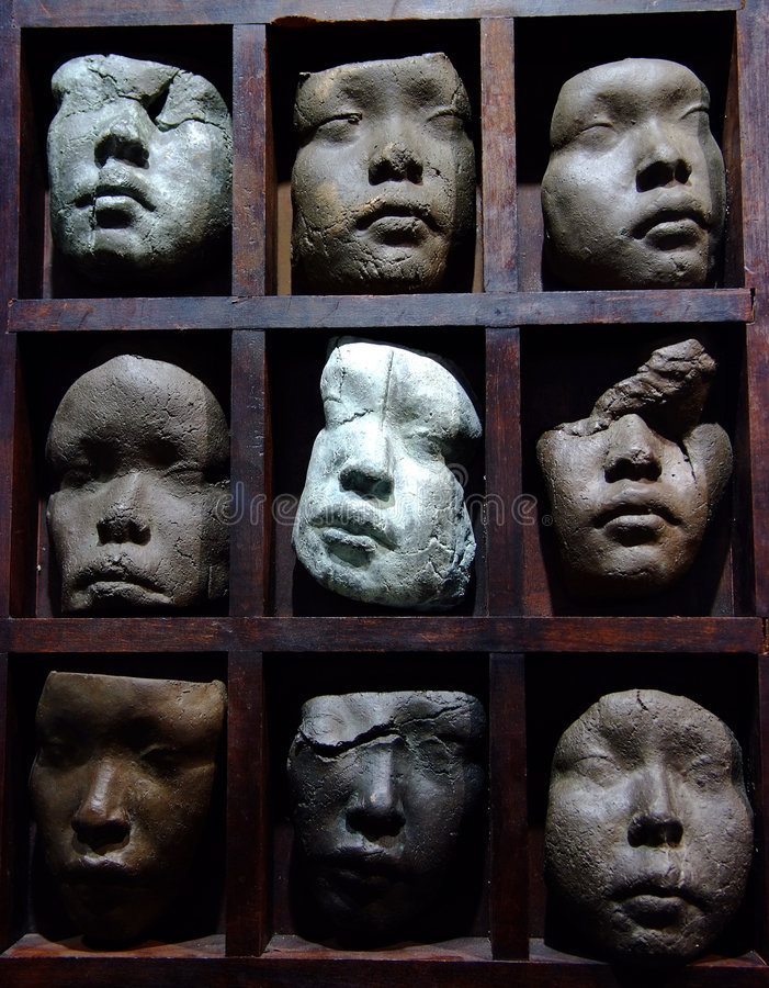 Face sculpture. Abstract clay sculpture of face royalty free stock photography