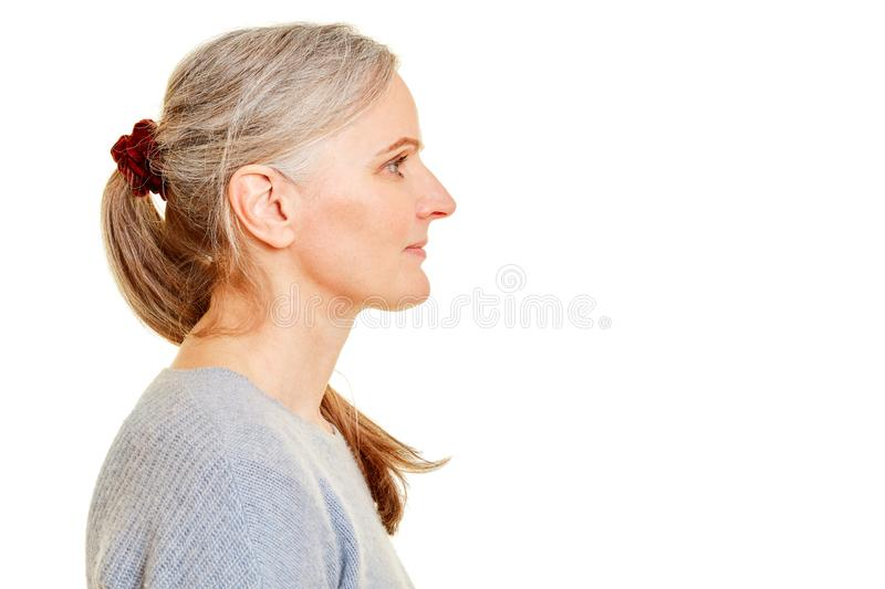 Face of a senior in profile stock images