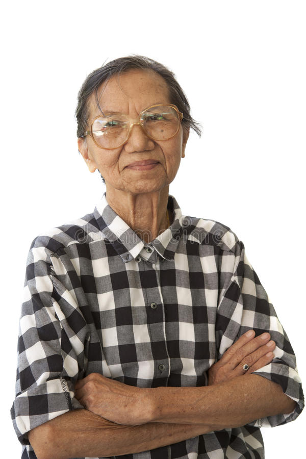Face of senior woman 70s years old isolated white stock photography