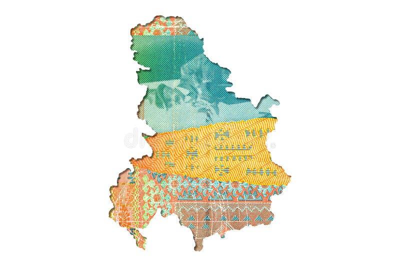 face serbe de note du dinar 500 dans la forme de la Serbie illustration libre de droits