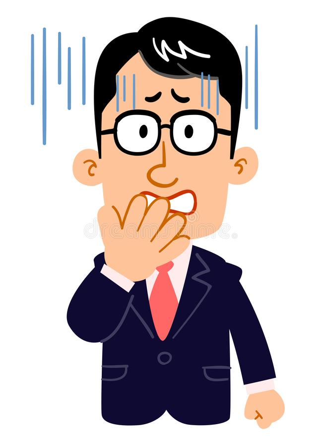The face of a serious businessman who wears glasses turns pale. The image of The face of a serious businessman who wears glasses turns pale stock illustration